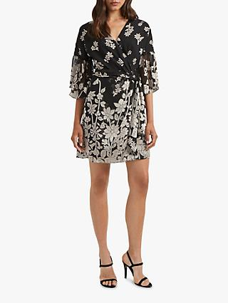 French Connection Elsie Wrap Dress, Black/Classic Cream