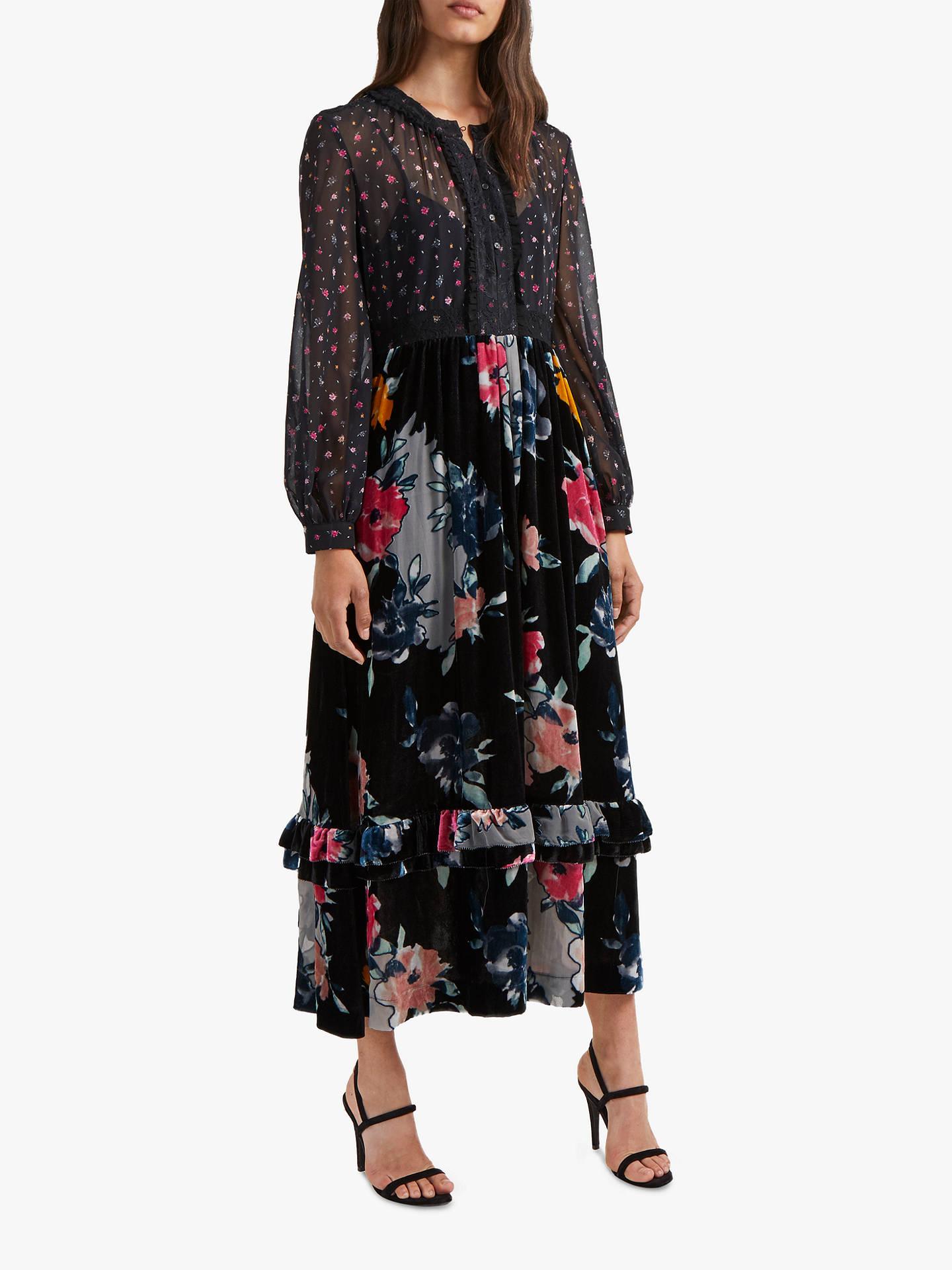 7306f7eb2c1 Buy French Connection Edith Floral Chiffon Midi Dress, Dark Slate/Multi, 6  Online ...