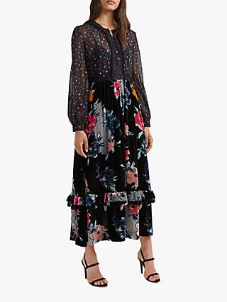 French Connection Edith Floral Chiffon Midi Dress, Dark Slate/Multi