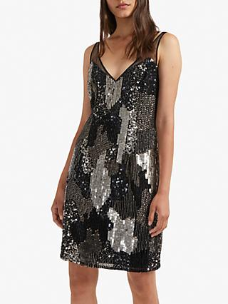 French Connection Astara V-Neck Sequin Dress, Black