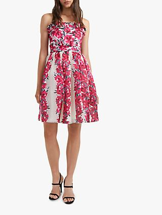 French Connection Edith Sweetheart Floral Print Strapless Dress, Cream/Multi