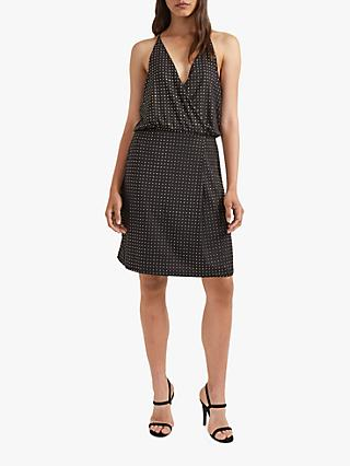 French Connection Enid Studded Halterneck Dress, Black