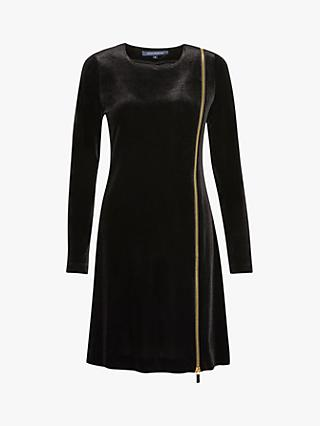French Connection Zella Aurore Velvet Zip Mini Dress, Black