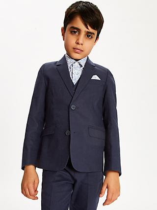 John Lewis & Partners Heirloom Collection Boys' Linen Jacket, Navy