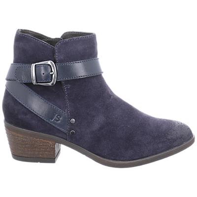 Josef Seibel Daphne Block Heel Ankle Boots, Blue Suede