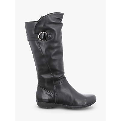 Josef Seibel Naly 23 Long Strap Boots, Black Leather