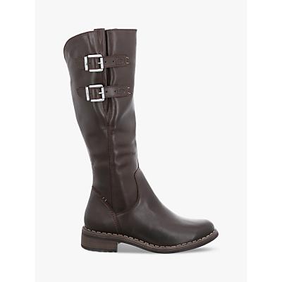 Josef Seibel Selena 13 Long Buckle Block Heel Boots, Brown Leather