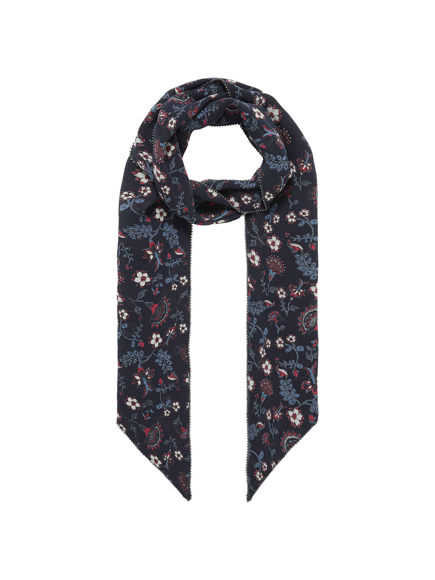 Buy Brora Floral Print Silk Chiffon Scarf, Raven/Ruby Online at johnlewis.com