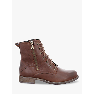 Josef Seibel Sienna 69 Lace Up Block Heel Ankle Boots, Cognac Leather