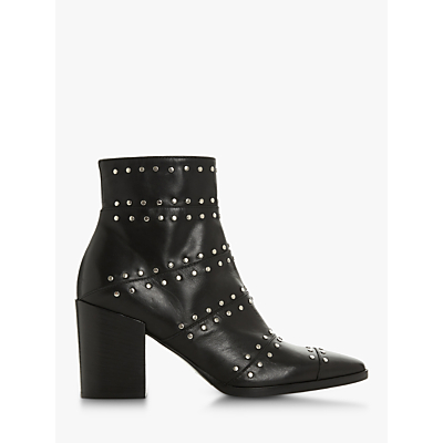 Dune Black Parlour Studded Block Heel Ankle Boots, Black Leather