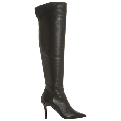Dune Black Santamonica Stiletto Heel Boots, Black Leather