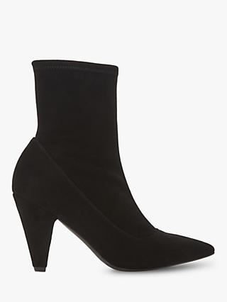 Dune Black Oxforde Slip-On High Cone Heel Ankle Boots, Black Suede