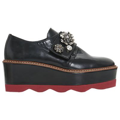 Dune Black Gaize Embellished Flatform Shoes, Black Leather