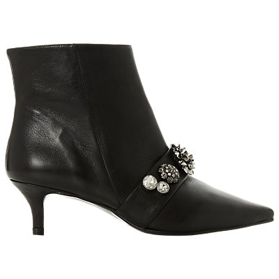 Dune Black Onyxe Stiletto Heel Ankle Boots, Black Leather