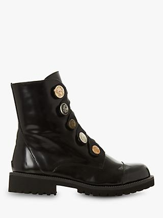 Dune Black Patriote Ribbon Lace Ankle Boots, Black Leather