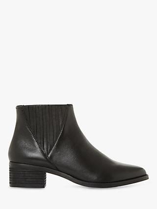 Steve Madden Always Stacked Heel Ankle Boots, Black Leather