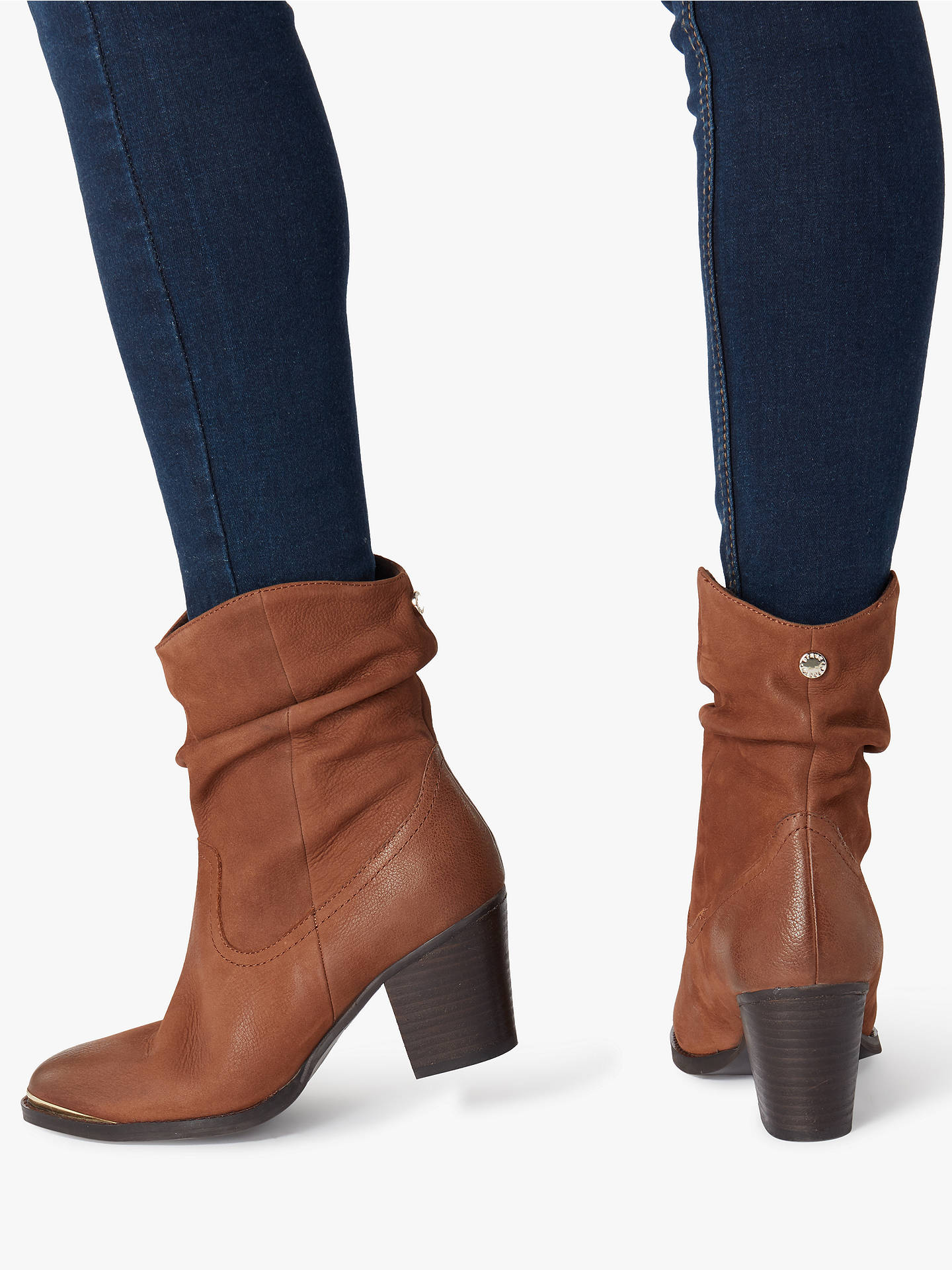BuySteve Madden Olya Leather Ruched Heeled Boots, Chesnut, 7 Online at johnlewis.com