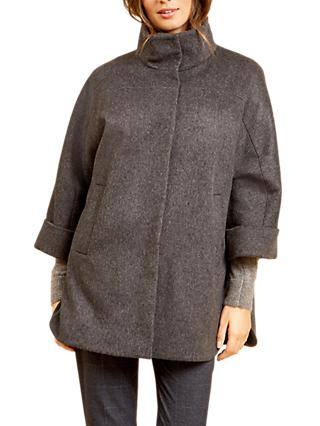 Fenn Wright Manson Petite Jocelyn Wool Cape Coat, Dark Grey