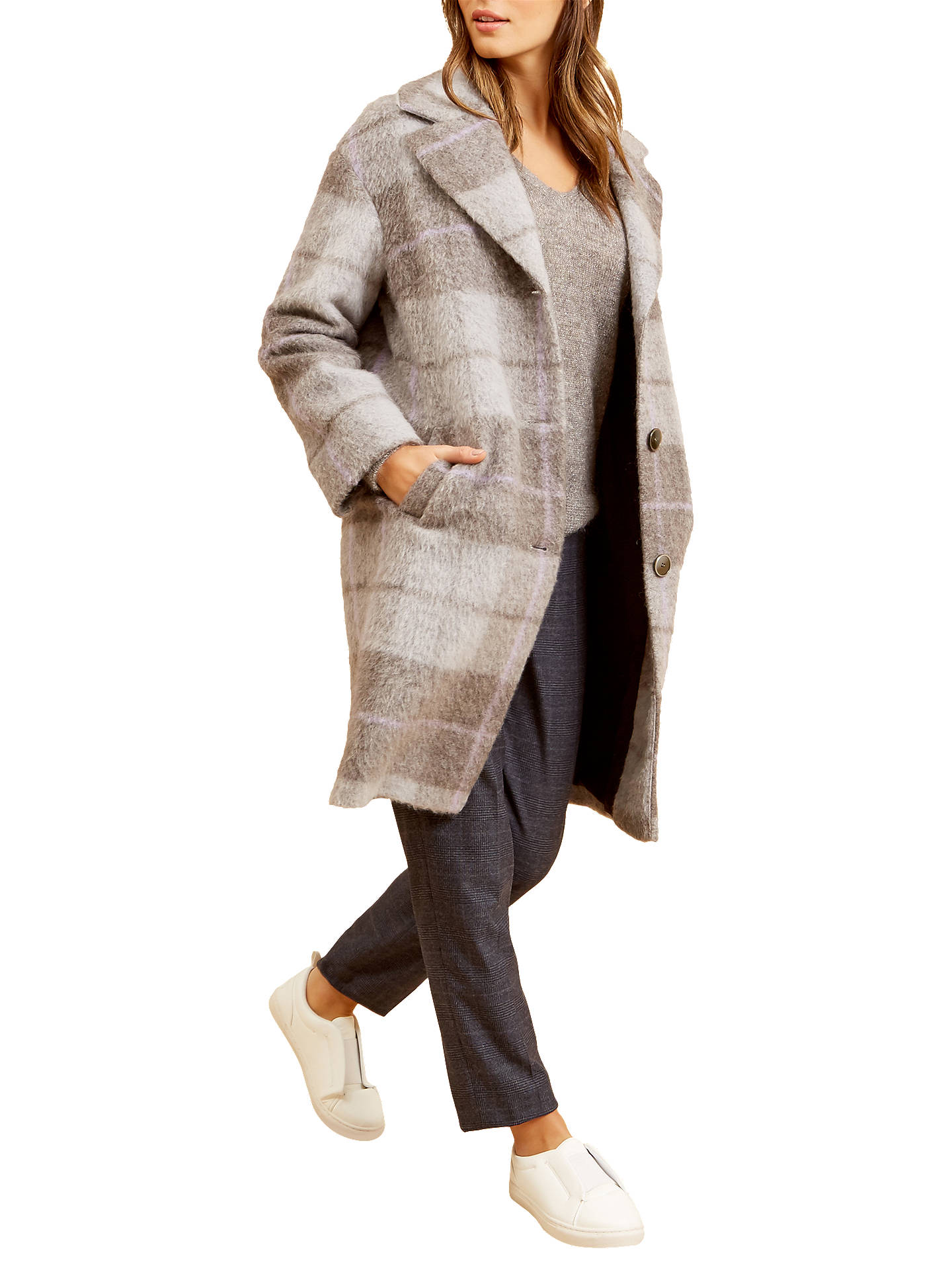 Buy Fenn Wright Manson Petite Brodie Check Coat, Grey, XS Online at johnlewis.com