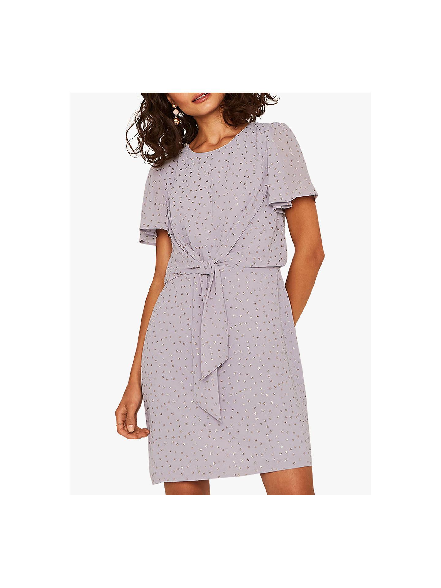 3c6b4501 Buy Oasis Glitter Spot Tie Dress, Lilac, 16 Online at johnlewis.com ...