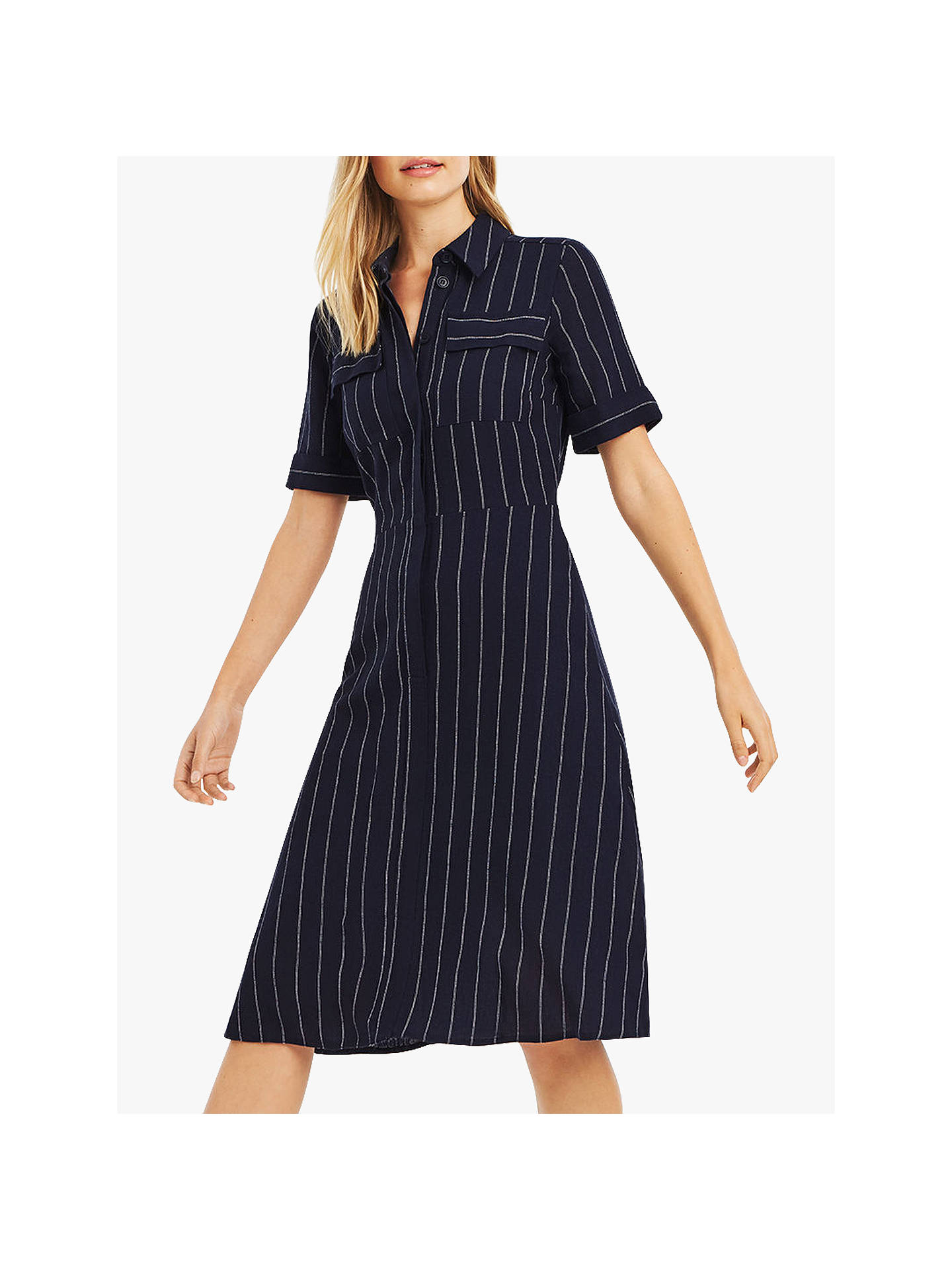 98be0f16d321 Buy Oasis Stripe Midi Shirt Dress, Navy, 16 Online at johnlewis.com ...