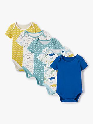 0721002aa John Lewis & Partners Baby GOTS Organic Cotton Dinosaur Short Sleeve  Bodysuits, Pack of 5