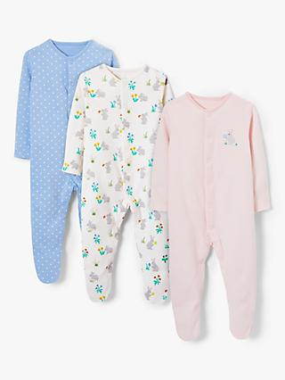 John Lewis & Partners Baby GOTS Organic Cotton Bunnies Sleepsuit, Pack of 3, Multi