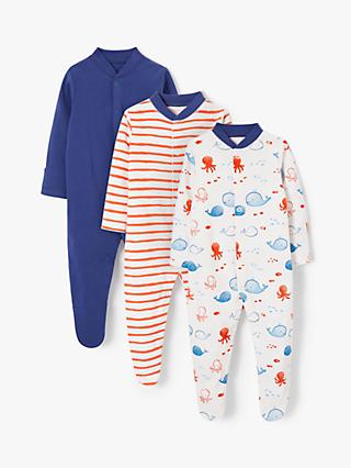 b899d8c7cfa John Lewis   Partners Baby GOTS Organic Cotton Whale Sleepsuit