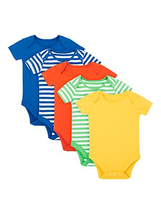 John Lewis & Partners Baby GOTS Organic Cotton Short Sleeve Bodysuits, Pack of 4, Multi