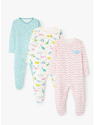 John Lewis & Partners Baby Dino and Pattern GOTS Organic Cotton Sleepsuit, Pack of 3, Multi