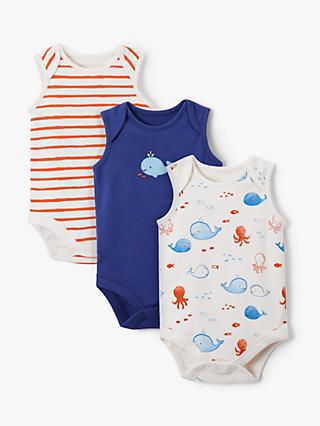 John Lewis & Partners Baby Sleeveless GOTS Organic Cotton Whale Bodysuit, Pack of 3, Multi