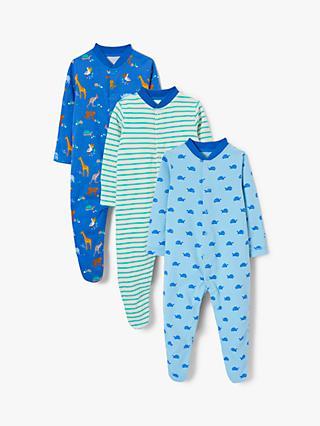 3be18095075 John Lewis   Partners Baby GOTS Organic Cotton Safari Sleepsuit