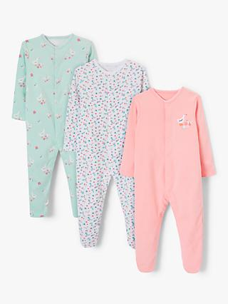 98eac68241f21 John Lewis & Partners Baby Ditsy Print GOTS Organic Cotton Sleepsuit, Pack  of 3,