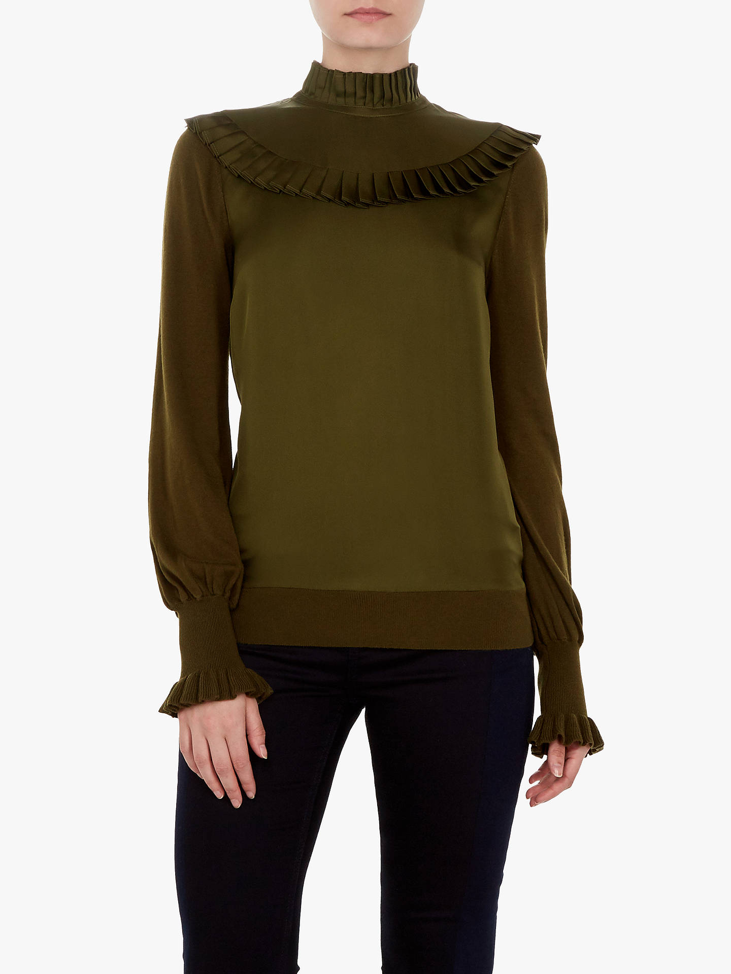 Buy Ted Baker Taytiee Frill Bib High Neck Top, Khaki, 5 Online at johnlewis.com