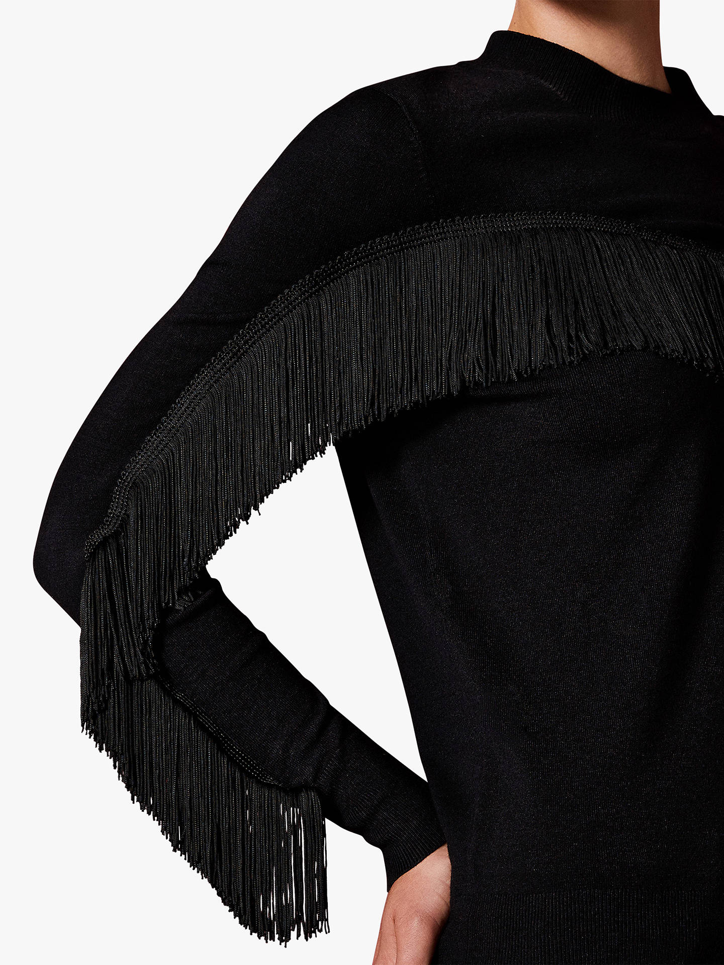 Buy Ted Baker Aniebal Fringe Jumper, Black, L Online at johnlewis.com