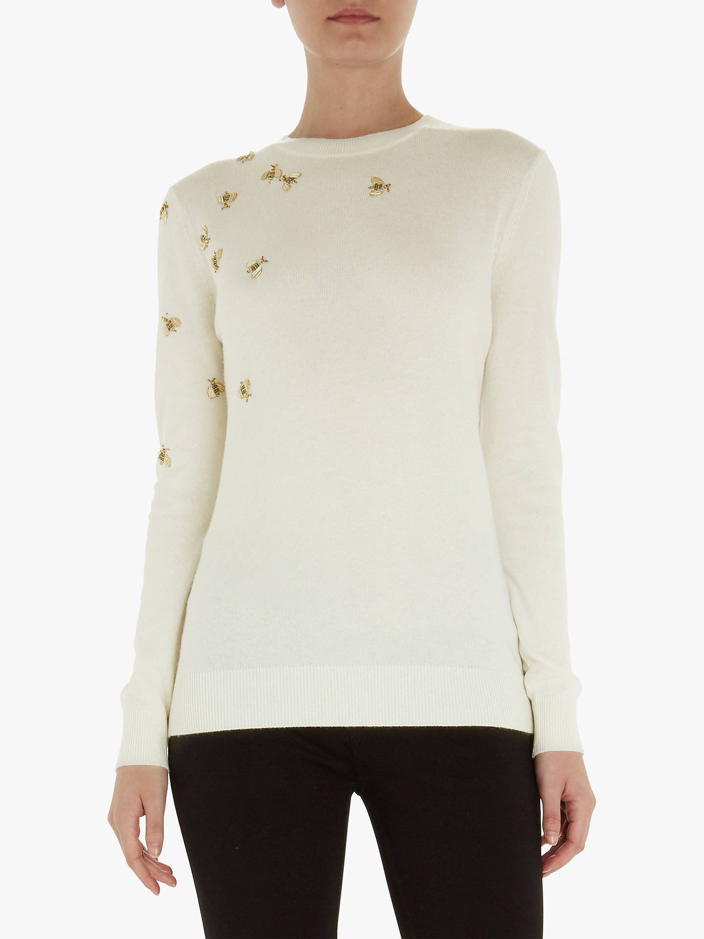 BuyTed Baker Calliee Bee Embellished Jumper, White, M Online at johnlewis.com