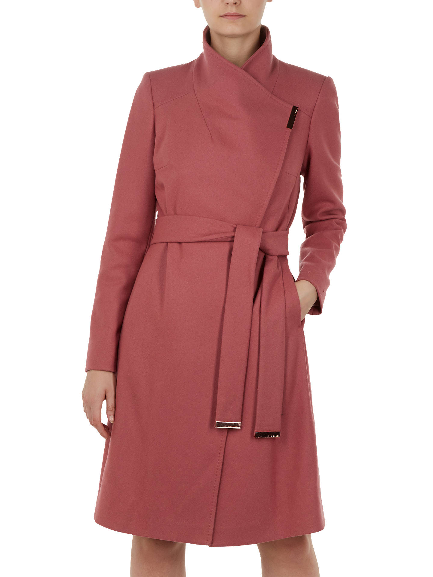 Buy Ted Baker Sandra Wool Blend Wrap Coat, Orange Coral, L Online at johnlewis.com