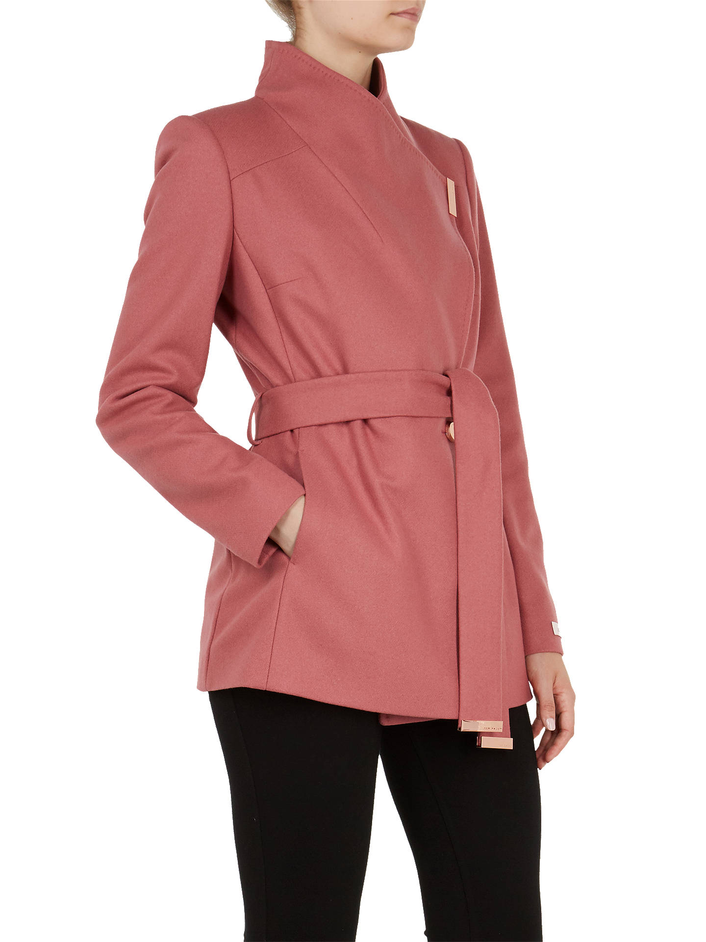 cda4f7d0ce250 Buy Ted Baker Rytaa Wool Blend Wrap Coat, Orange Coral, XXS Online at  johnlewis ...