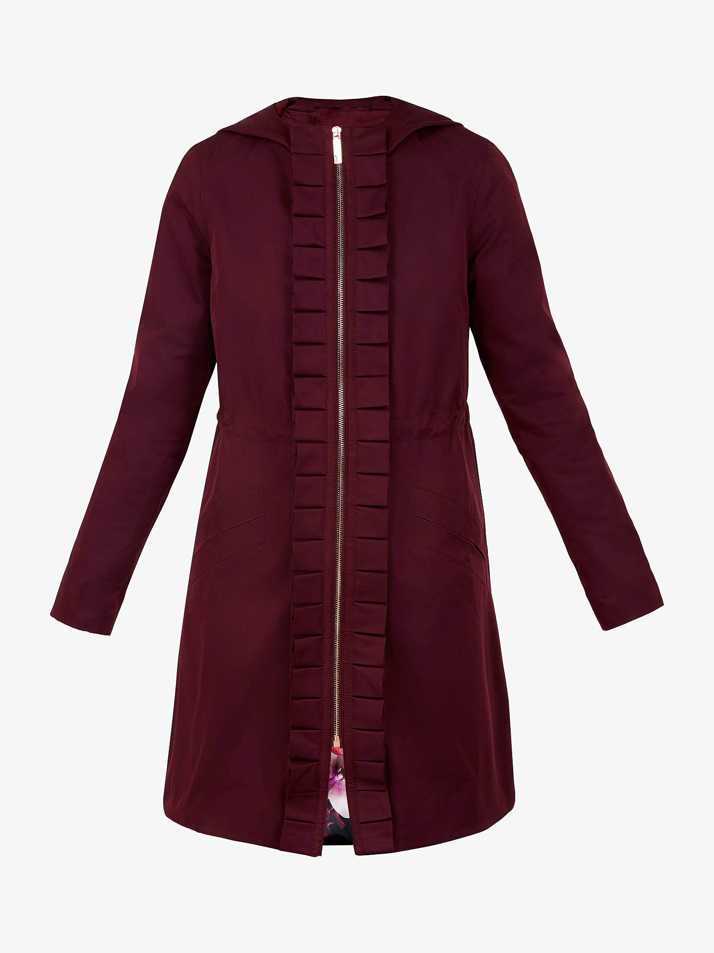 BuyTed Baker Zowe Ruffle Detail Hooded Parka, Dark Purple, XL Online at johnlewis.com