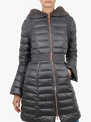 eb4f22b57e Ted Baker Yandle Bell Cuff Longline Puffer Coat, Mid Grey