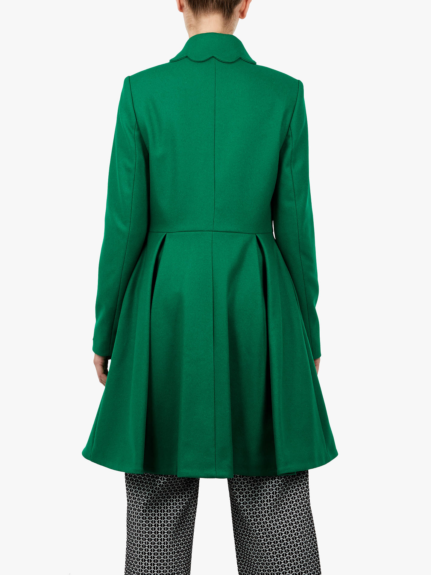 BuyTed Baker Blarnch Wool Blend Scallop Trim Swing Coat, Green, 4 Online at johnlewis.com