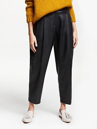Modern Rarity Pleat Front Leather Trousers, Black