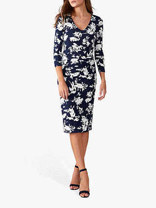 Buy Pure Collection V-Neck Bodycon Wrap Dress, Navy Floral, 8 Online at johnlewis.com