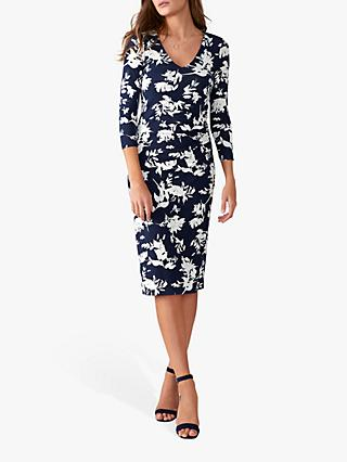 Pure Collection V-Neck Bodycon Wrap Dress, Navy Floral