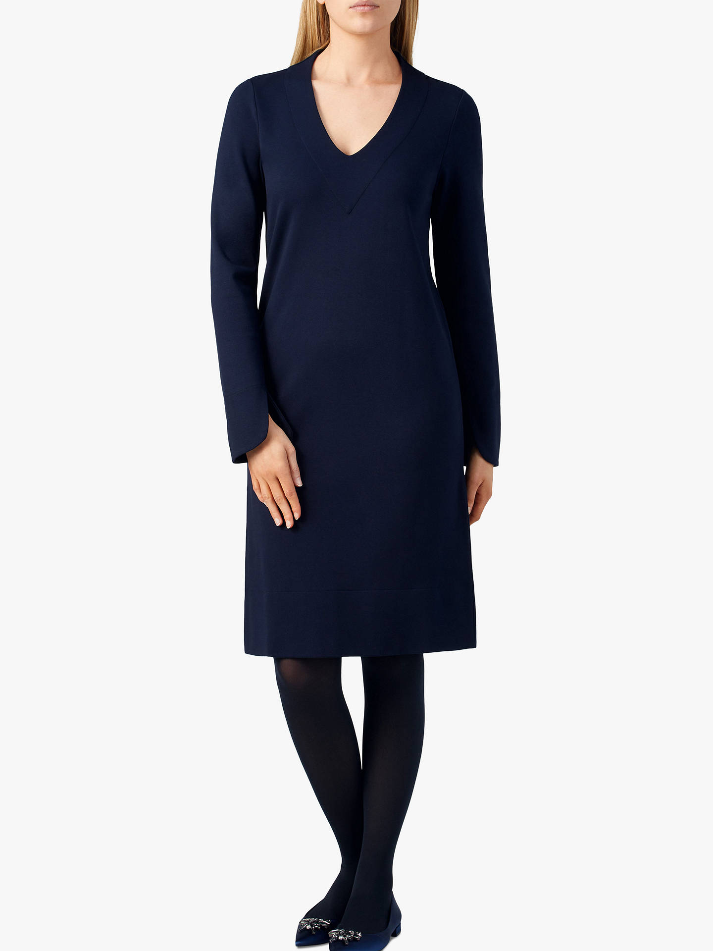 BuyPure Collection Ponte V-Neck Dress, Navy, 8 Online at johnlewis.com