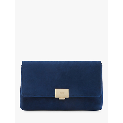 Dune Bellairs Small Suede Clutch Bag, Navy