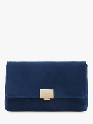 Dune Bellairs Small Suede Clutch Bag Navy