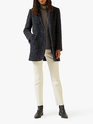 Jigsaw Boucle Tweed Welt Pocket Coat, Navy