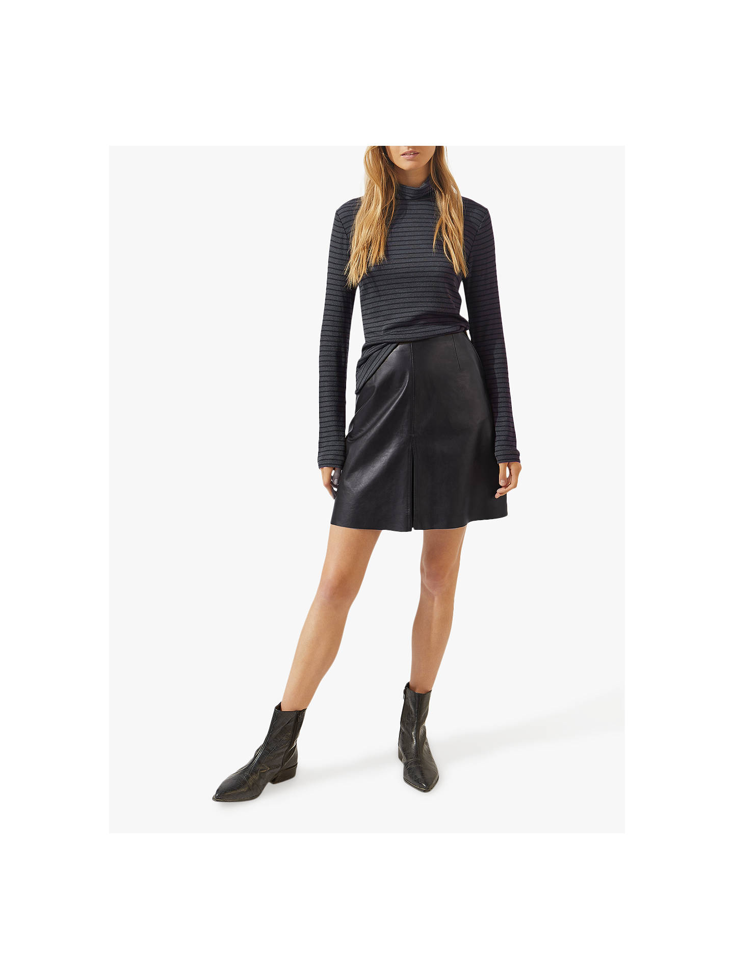 22f2c3aaff54 Buy Jigsaw Mini Pleated Front Leather Skirt, Black, 6 Online at  johnlewis.com ...