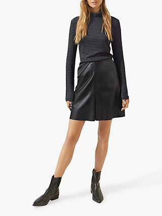 Jigsaw Mini Pleated Front Leather Skirt, Black